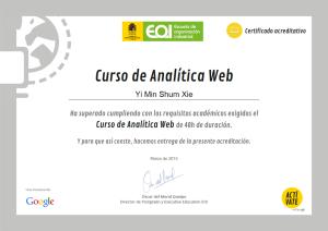 certificado analítica web actívate