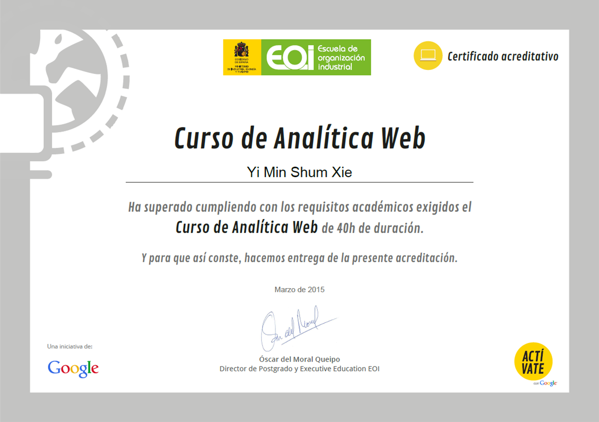certificado analítica web actívate