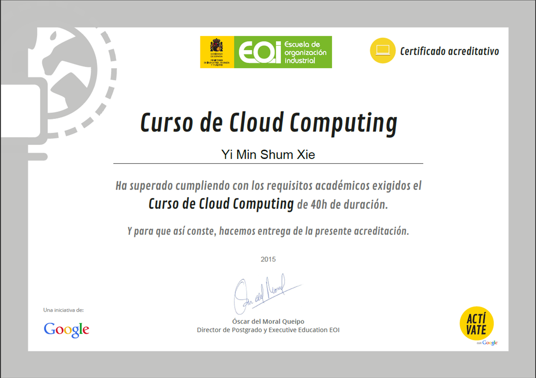certificado cloud computing