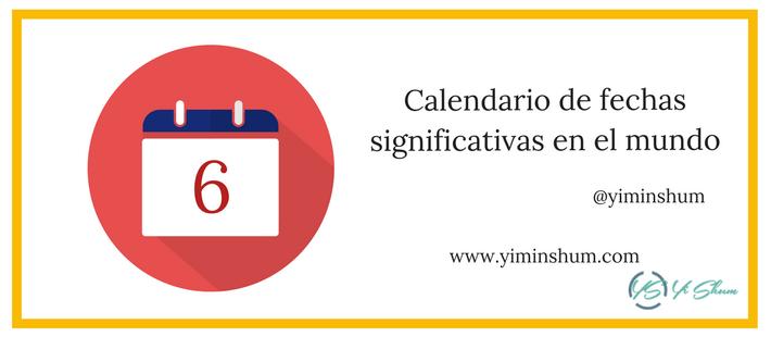 Calendario de fechas significativas en el mundo imagen