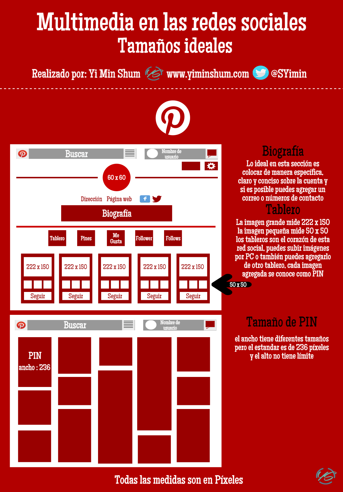 multimedia en la red social Pinterest infografía
