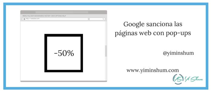 Google sanciona las páginas web con pop-ups
