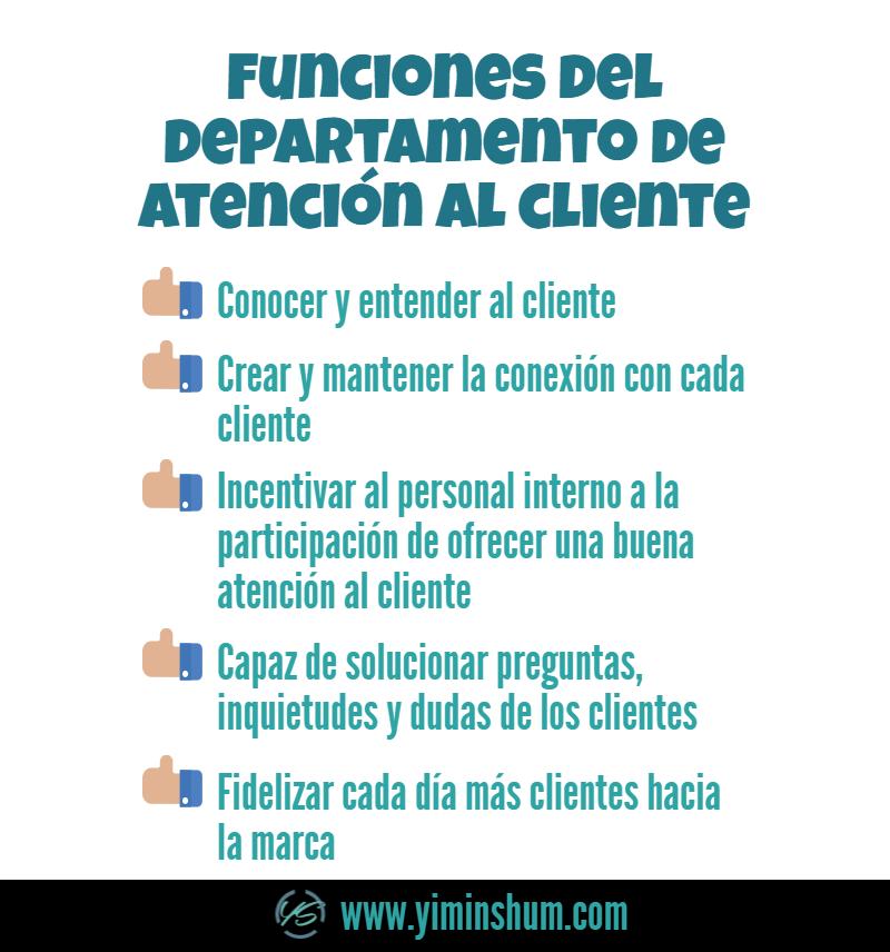 Funciones del departamento de atención al cliente infografía