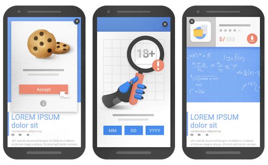 pop-ups aceptado por Google a partir del 2017