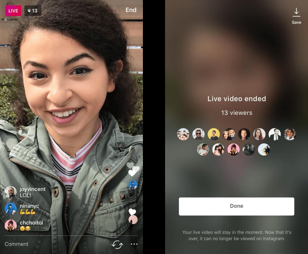 instagram permite guardar video en vivo imagen