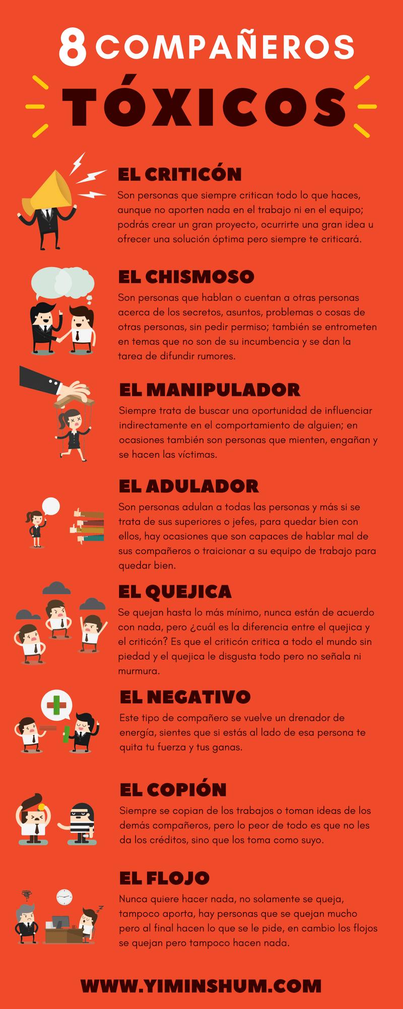 8 compañeros tóxicos infografía imagen