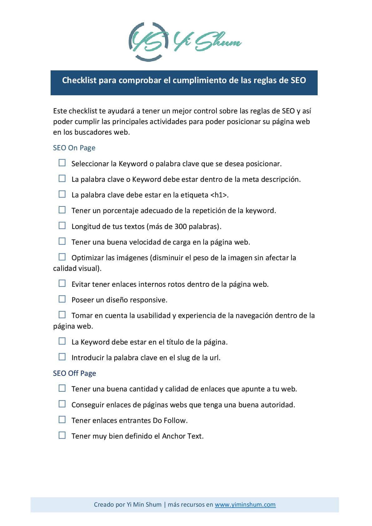 Checklist para comprobar el cumplimiento de las reglas de SEO imagen
