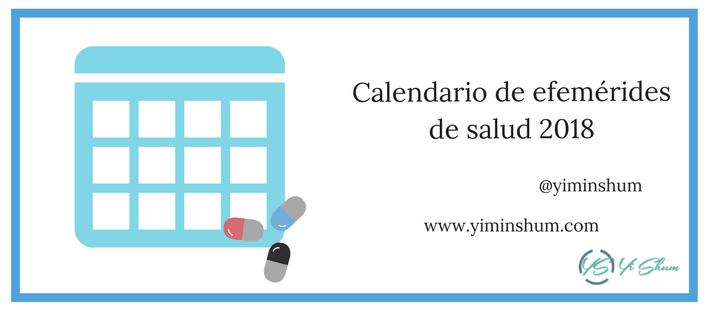 Calendario de efemérides de salud 2018 imagen