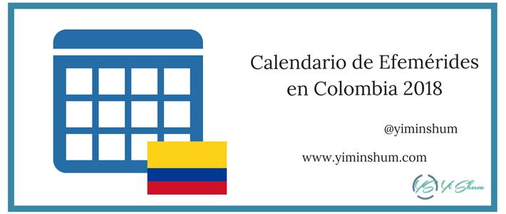 Calendario de efemérides en Colombia 2018