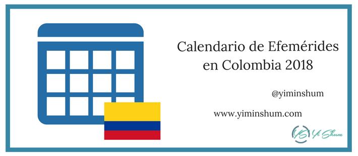 Calendario de efemérides en Colombia 2018 imagen