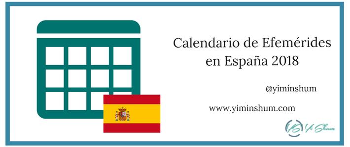 Calendario de efemérides en España 2018