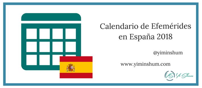 Calendario de efemérides en España 2018 imagen