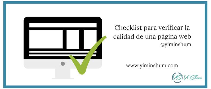 Checklist para verificar la calidad de una página web