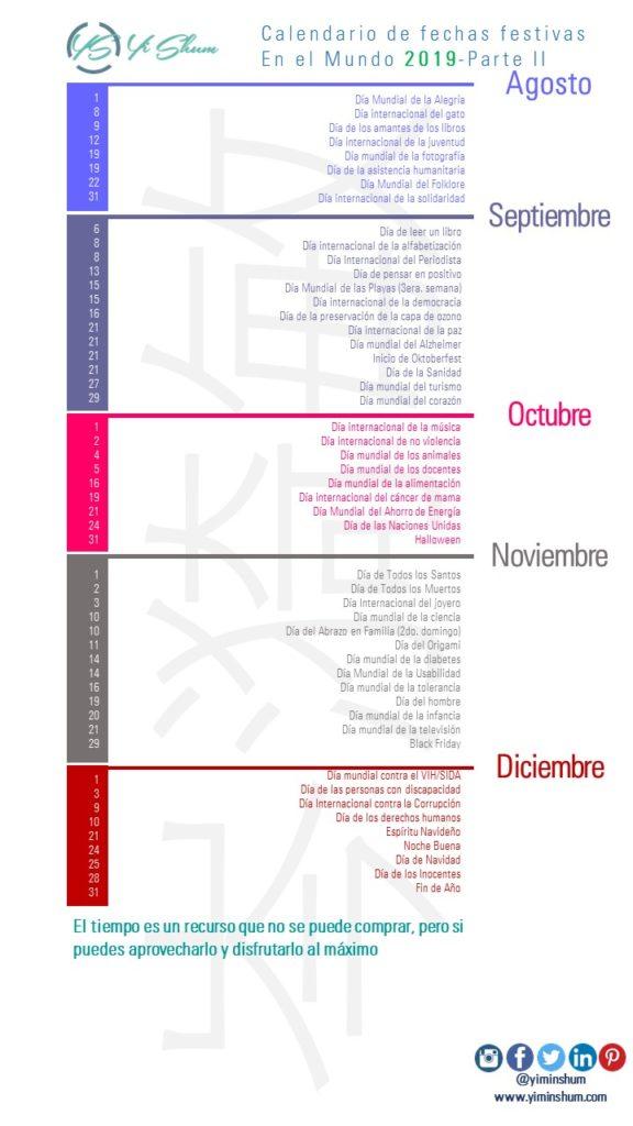 Calendario de efemérides en el Mundo 2019 infografía 2 imagen