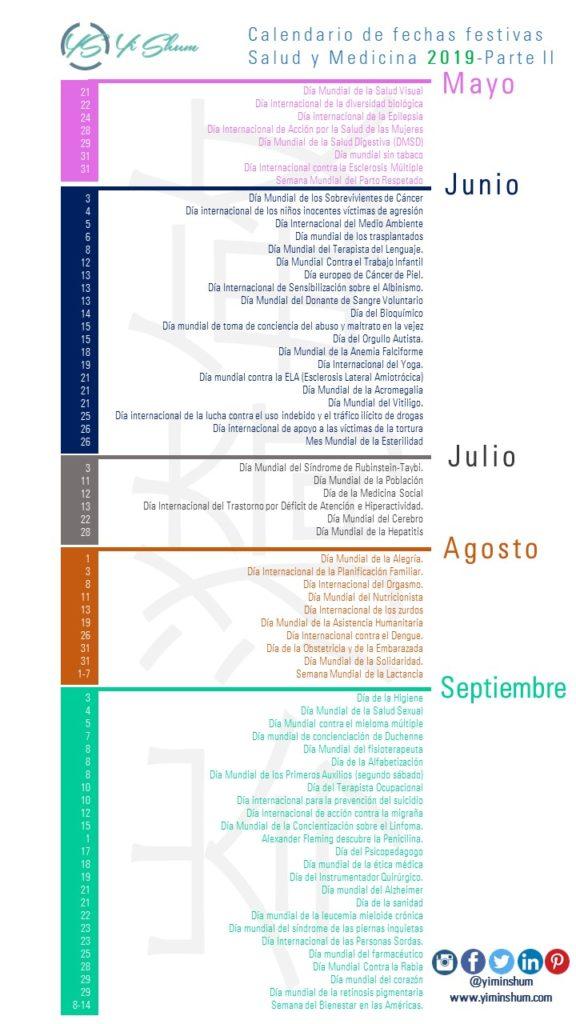 Calendario 2019 Julio Chile.Calendario De Fechas Festivas Salud Y Medicina 2019 Yi Min