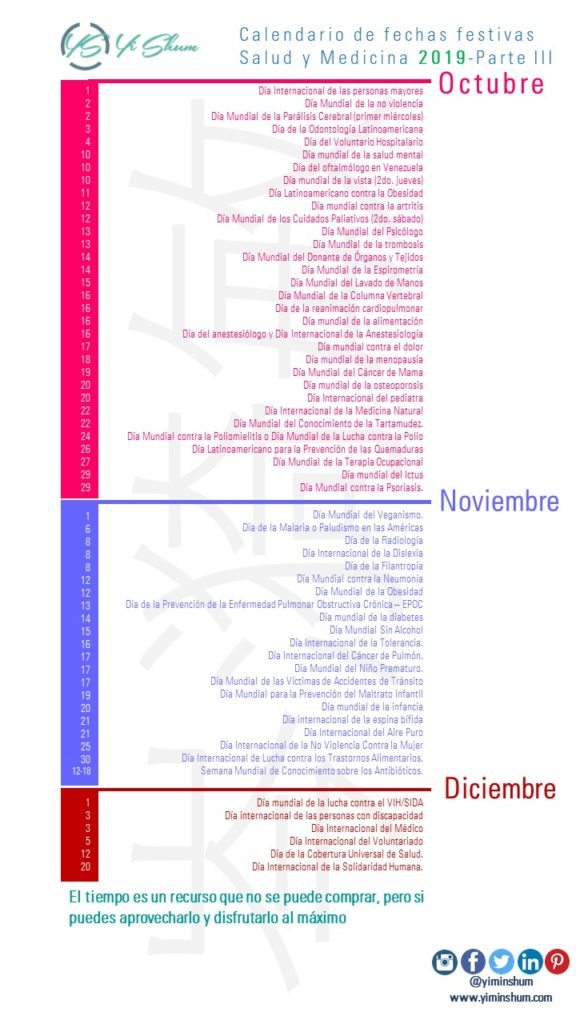Marzo 2020 Calendario Argentina.Calendario De Fechas Festivas Salud Y Medicina 2019 Yi Min