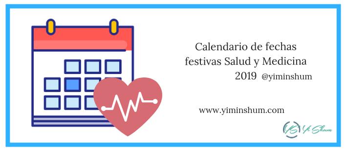 Calendario de fechas festivas Salud y Medicina 2019 imagen