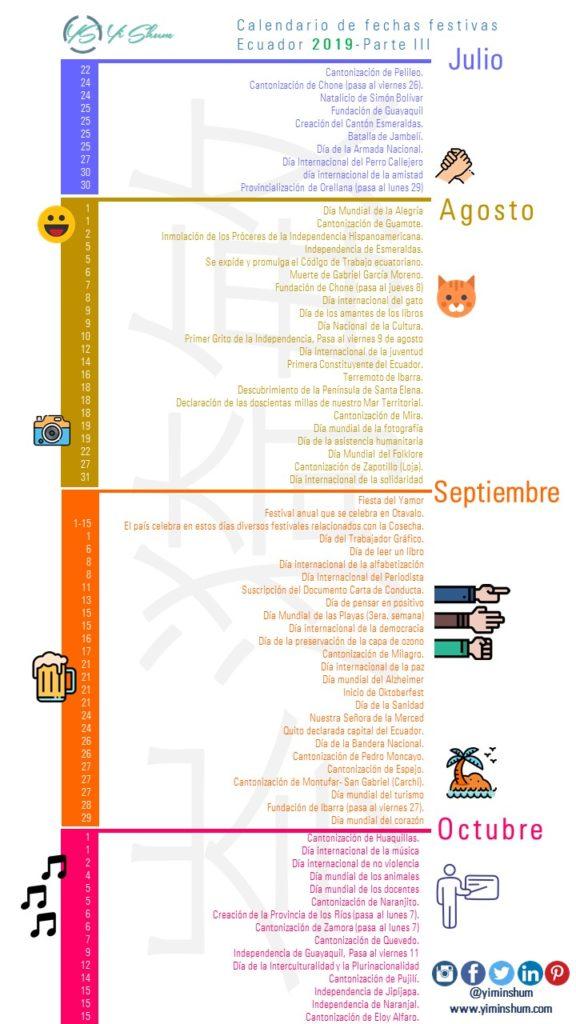 Calendario Panama 2019 Con Festivos.Calendario De Fechas Festivas De Ecuador 2019 Yi Min Shum Xie
