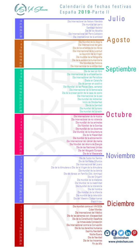 Calendario Agosto 2019 Espana.Calendario De Fechas Festivas De Espana 2019 Yi Min Shum Xie