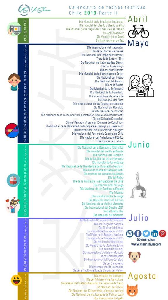 Calendario De Agosto 2019 Chile.Calendario De Fechas Festivas De Chile 2019 Yi Min Shum Xie