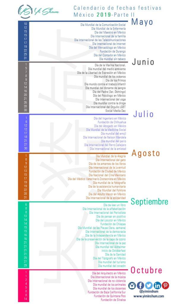 Dias Festivo Calendario 2020 Mexico.Calendario De Fechas Festivas De Mexico 2019 Yi Min Shum Xie