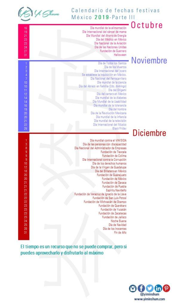 Calendario 2020 Mexico Con Dias Festivos Para Imprimir.Calendario De Fechas Festivas De Mexico 2019 Yi Min Shum Xie