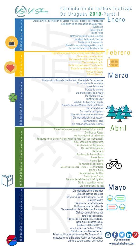 Calendario De Fechas Festivas De Uruguay 2019 Yi Min