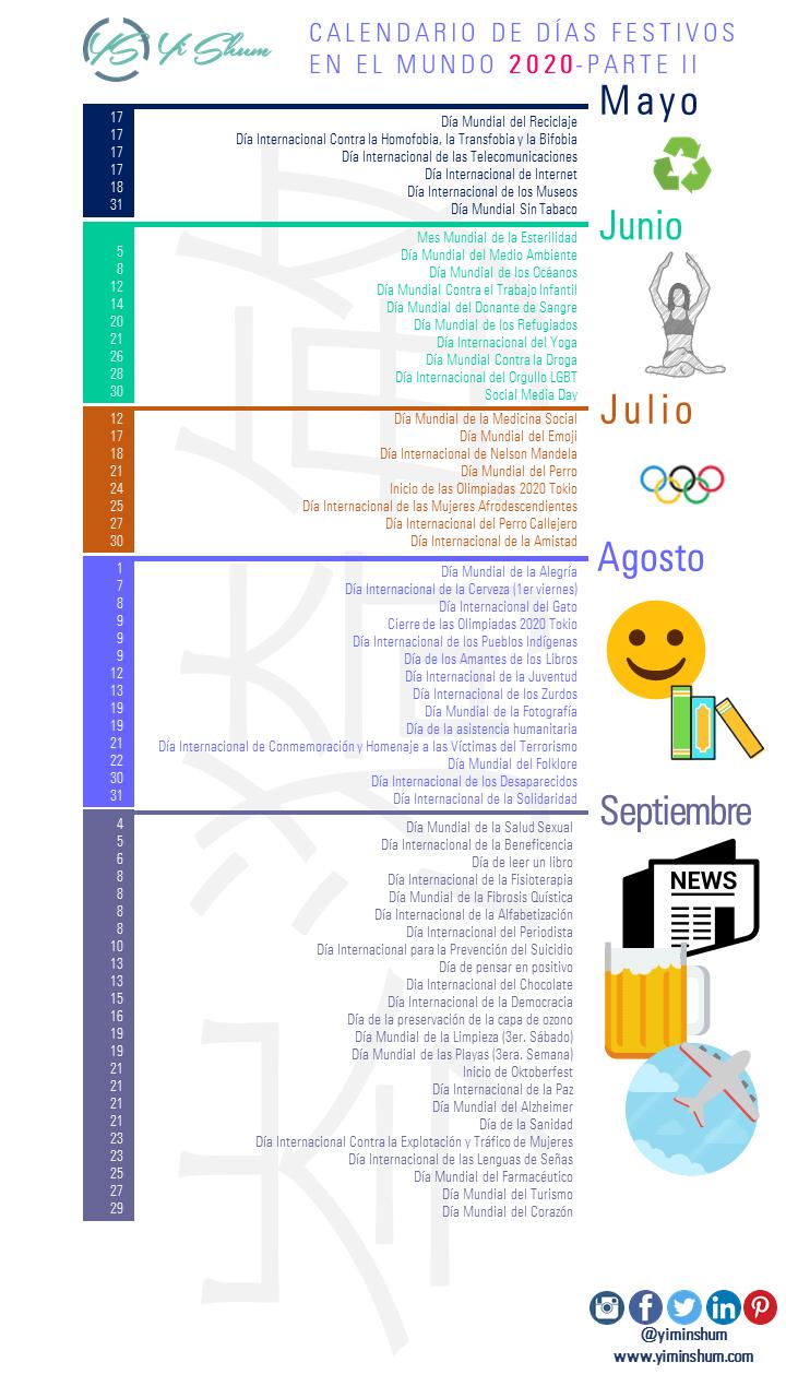 CALENDARIO DE FECHAS FESTIVAS DEL MUNDO 2020 - PARTE 2 IMAGEN