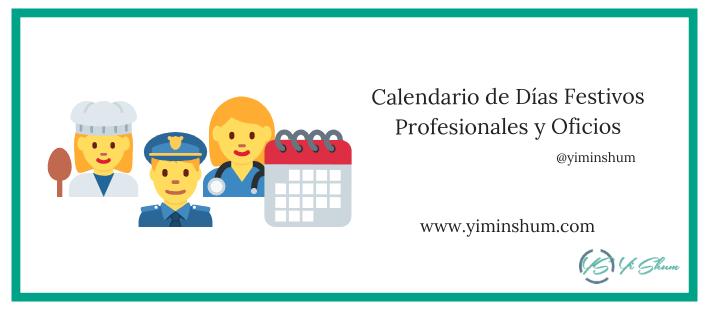Calendario de Días Festivos Profesionales y Oficios