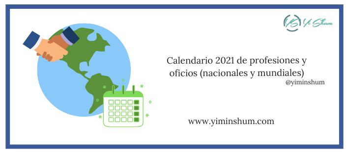 Calendario de profesiones por país 2021
